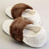 Thermo Slippers winterweiß, Stulpe mocca, Größe XXL, EU 44 - 46
